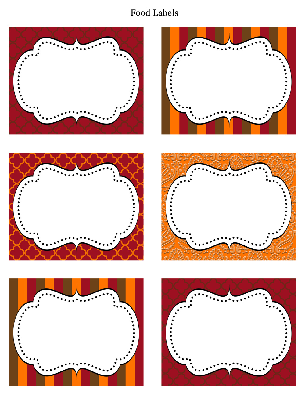 Thanksgiving Food Labels Printable