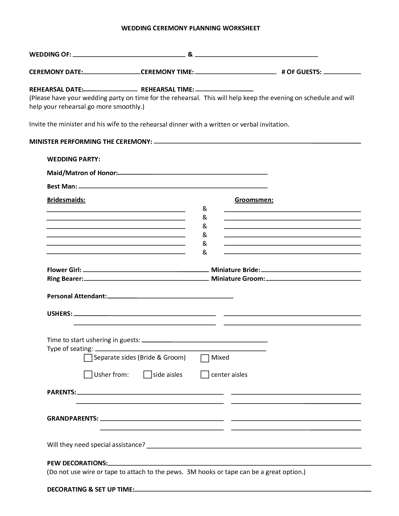 Worksheet Wedding Planning Worksheets 5 best images of free printable wedding planner worksheets planning worksheet template