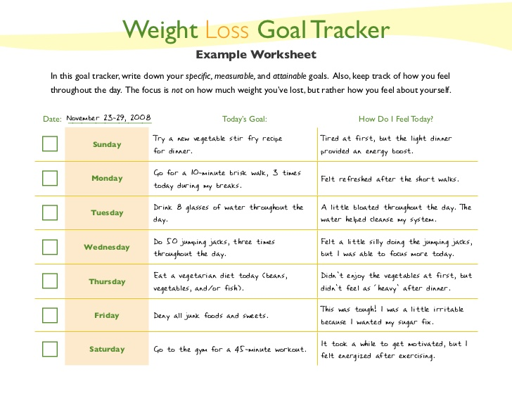 6 Best Images of Printable Weight Loss Goal Setting Worksheet ...
