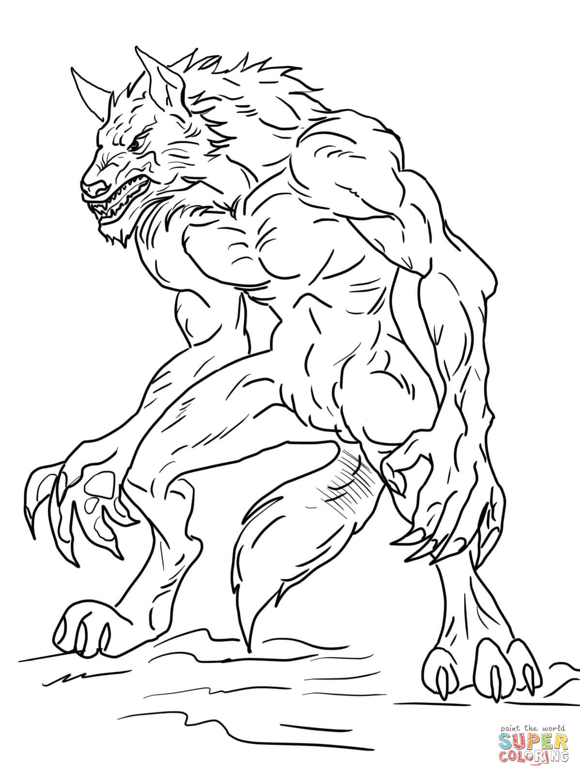 5 Images of Werewolf Coloring Pages Free Printables