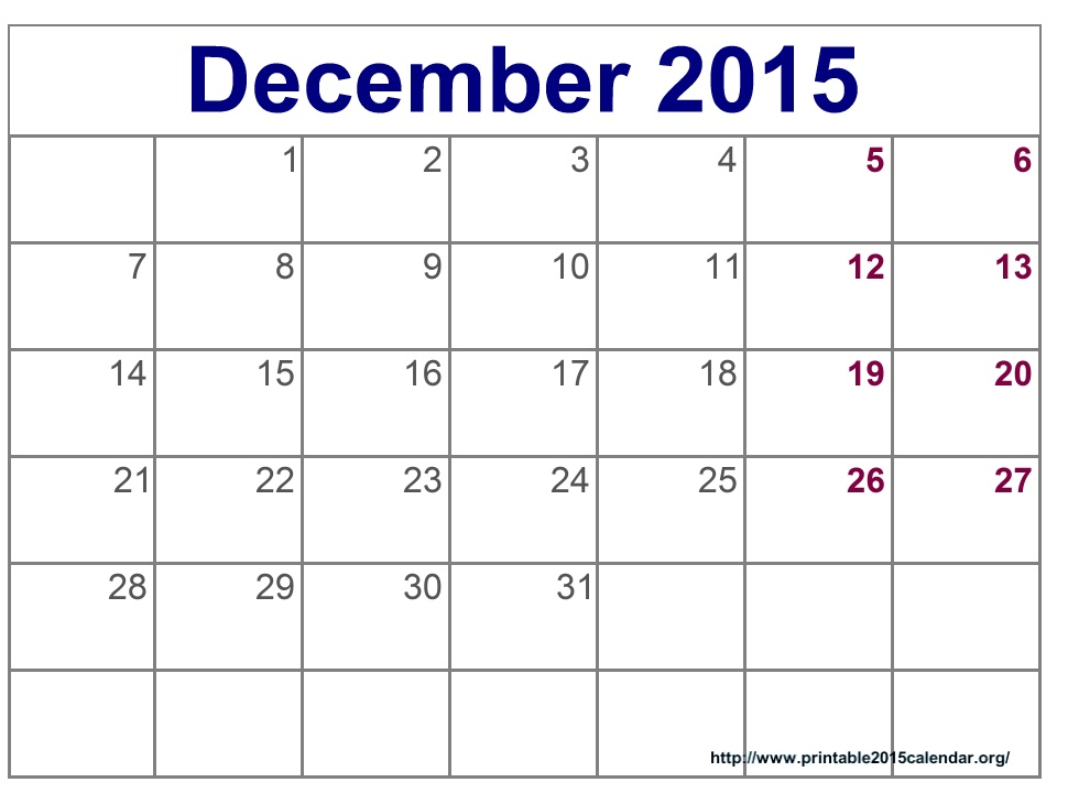of December 2015 Calendar Printable Template - December 2015 Calendar ...