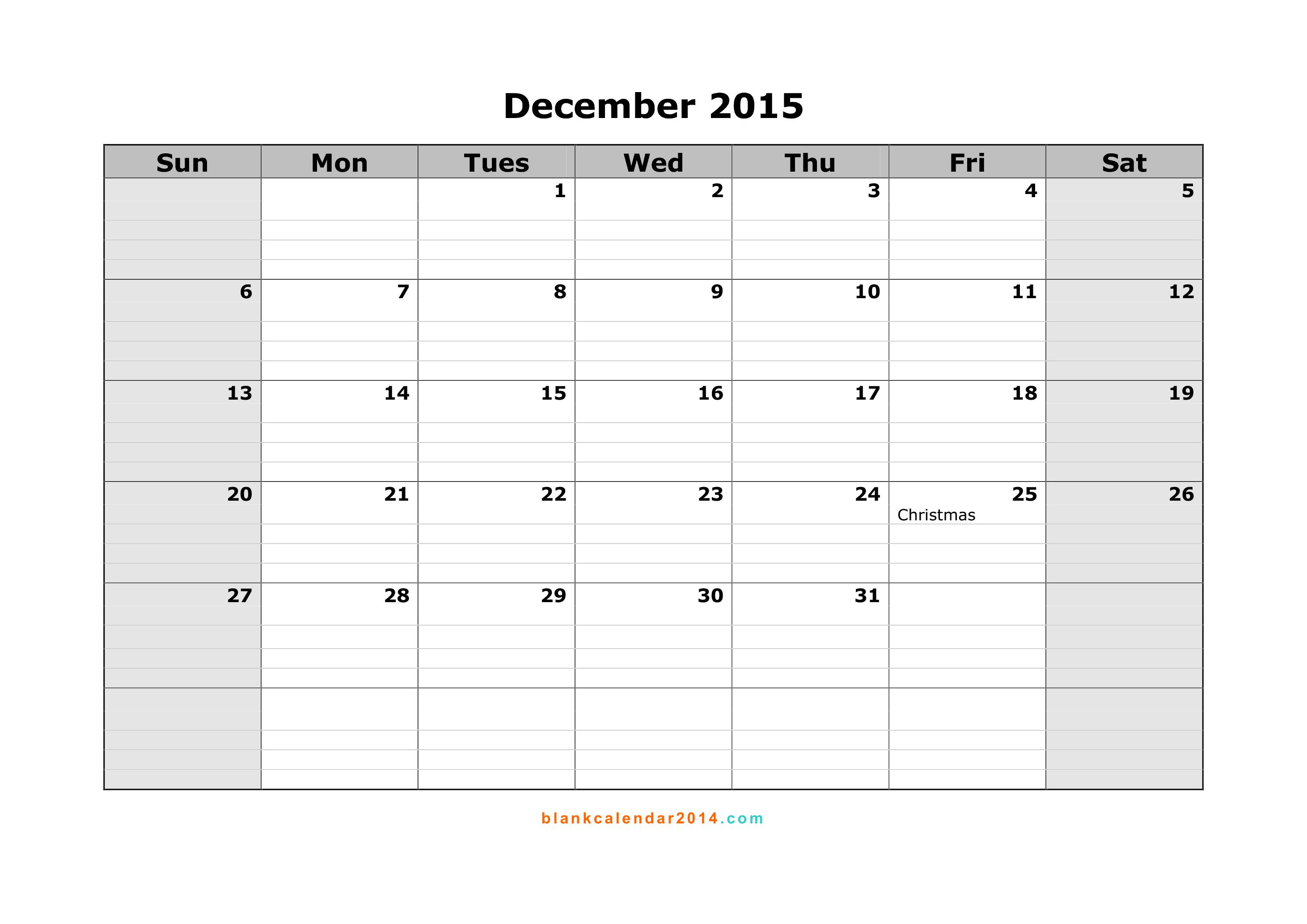 December Calendar 2015 : Best images of december calendar printable template