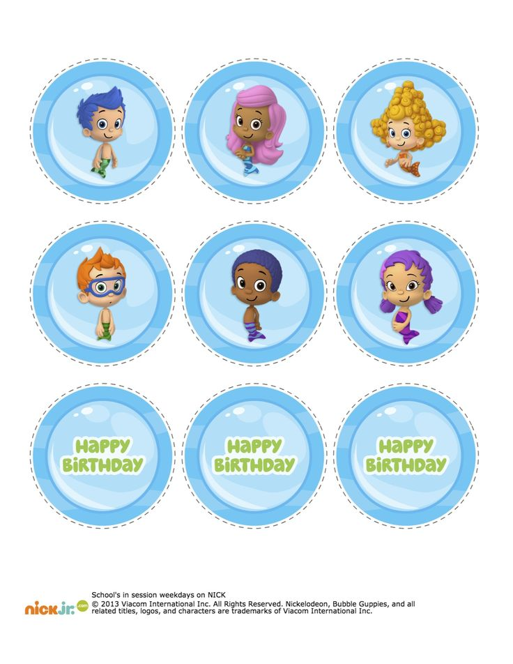 5 Images of Bubble Guppies Cupcakes Printables