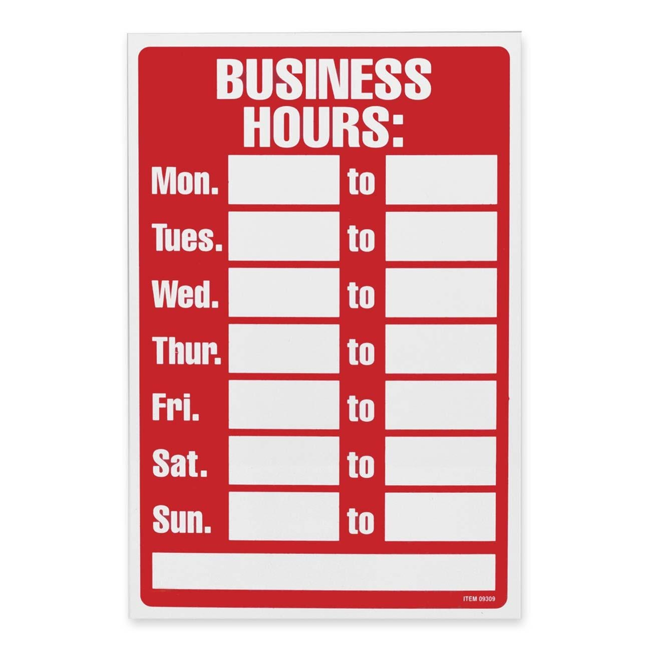 business hours sign template