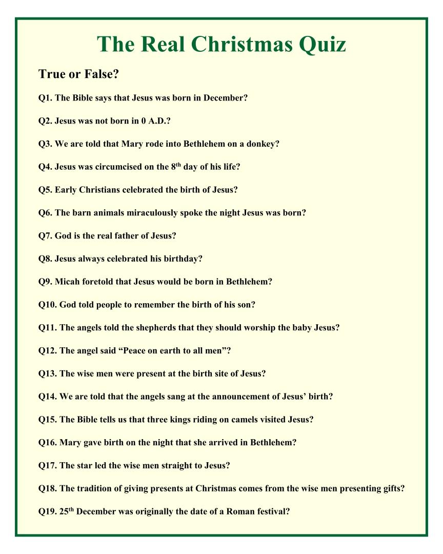 Christmas Trivia Questions True or False