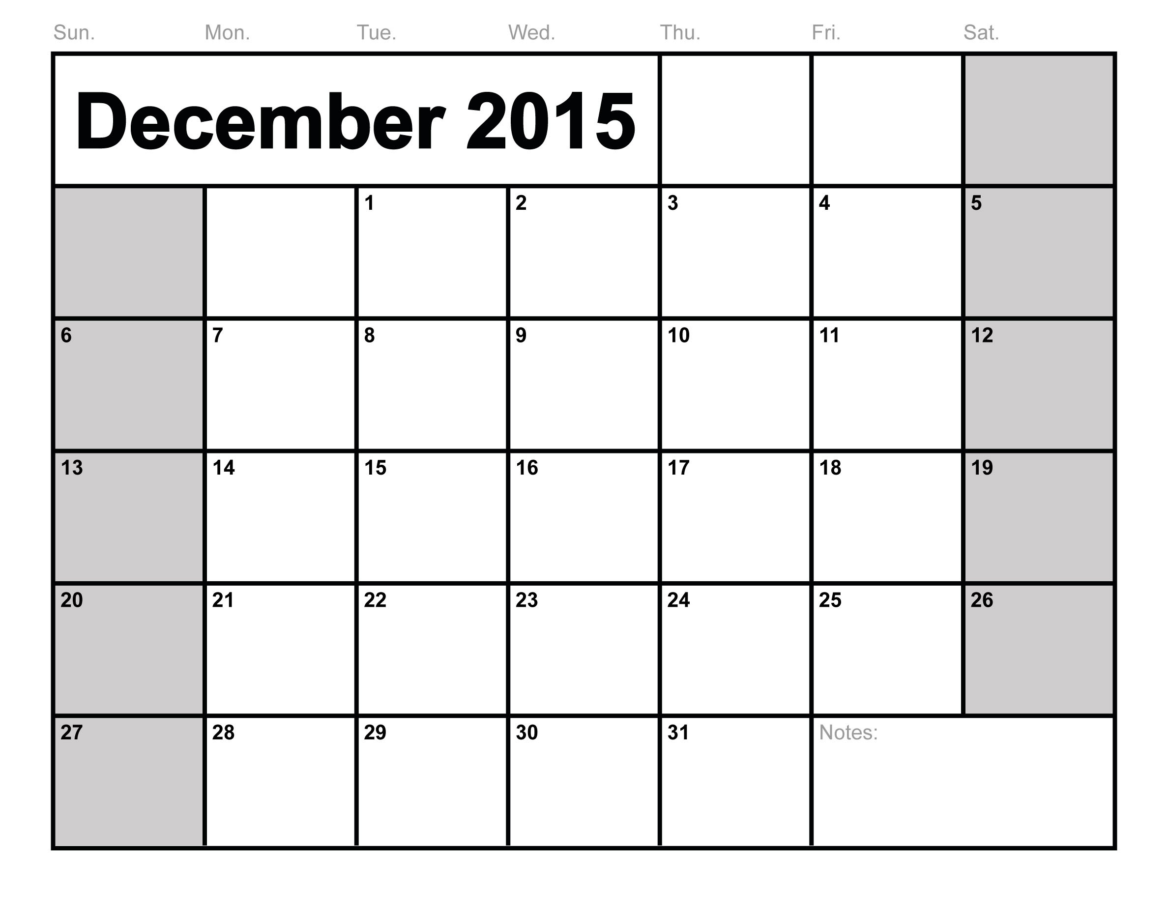 8 Images of December 2015 Calendar Printable Template