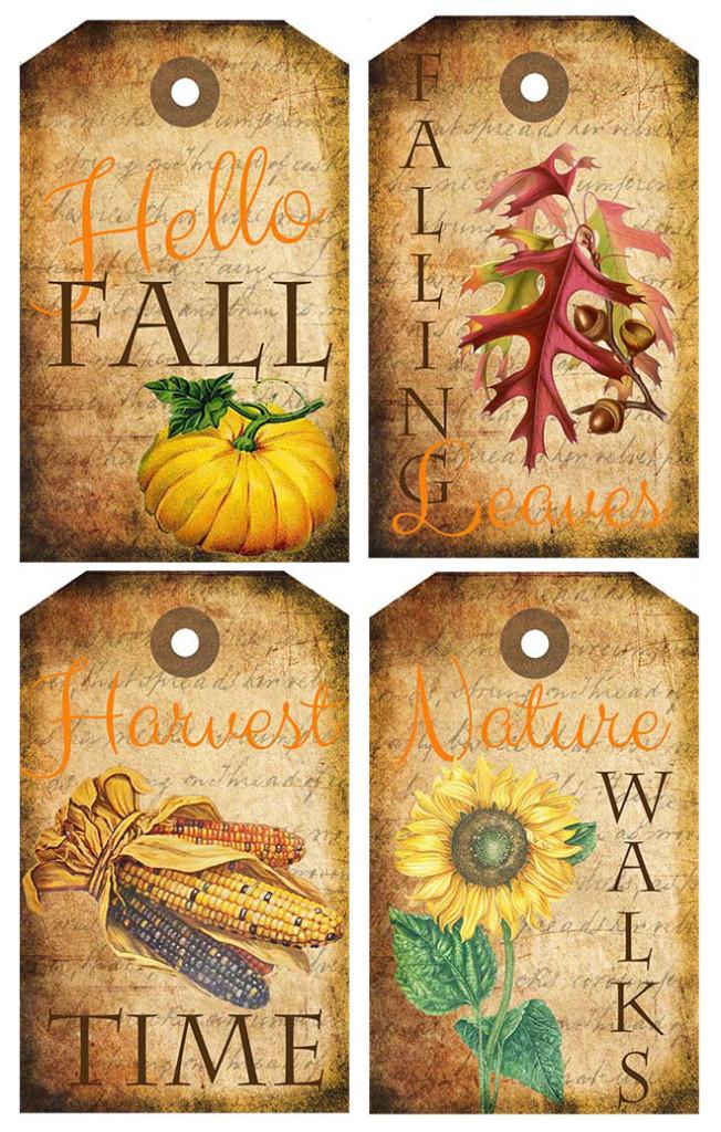 Fall Theme Printable Tags