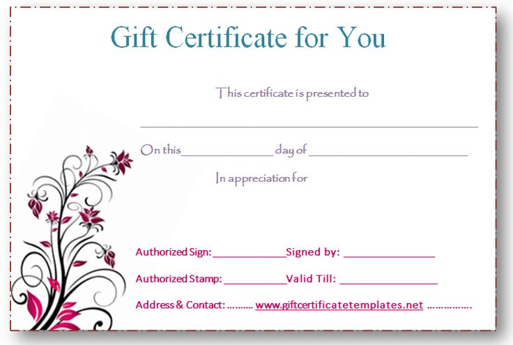 5 best images of free editable printable gift certificates for Free customizable gift certificate template