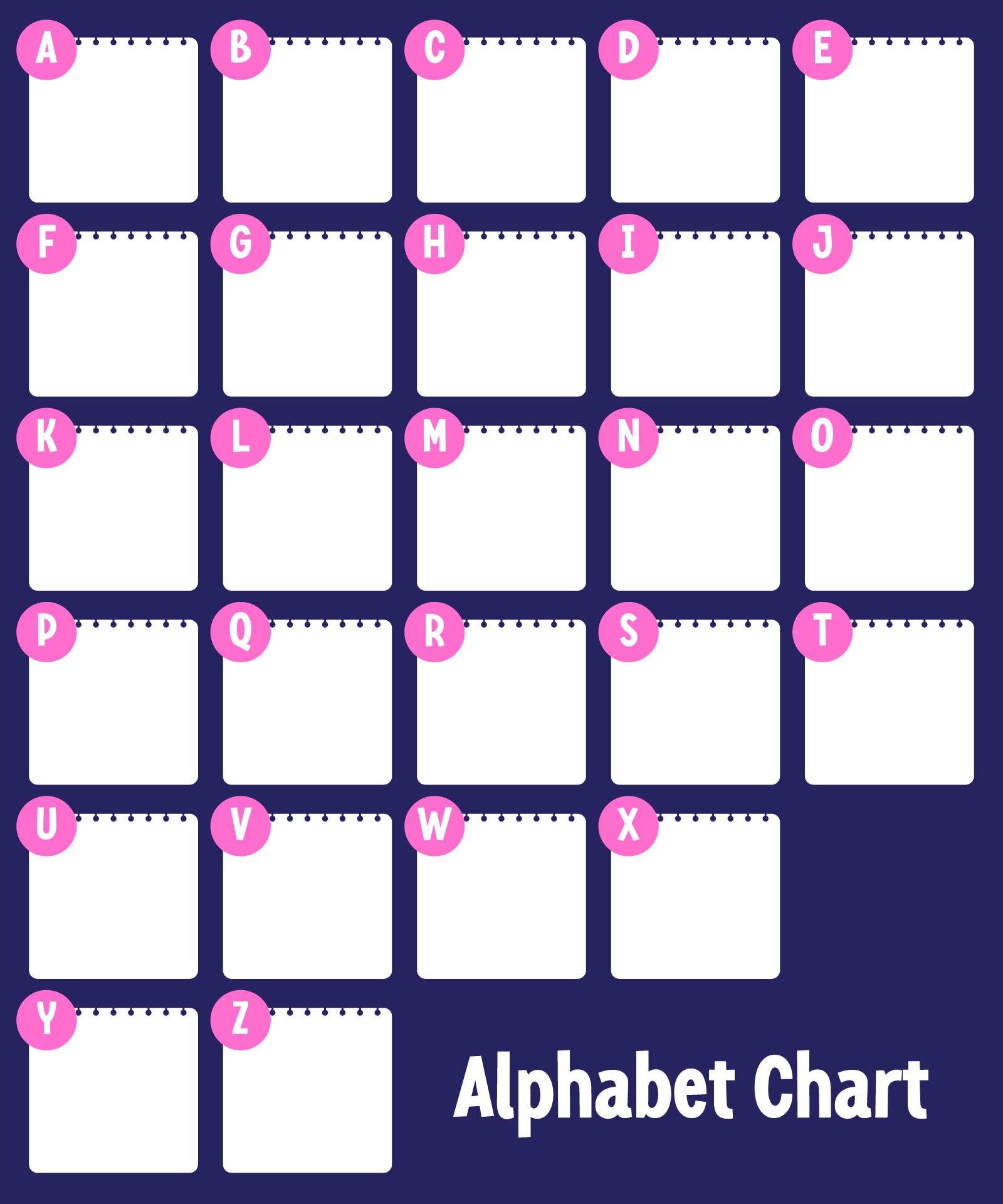 Free Printable Kindergarten Alphabet Chart