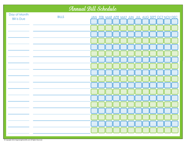 Free Printable Bill Payment Schedules