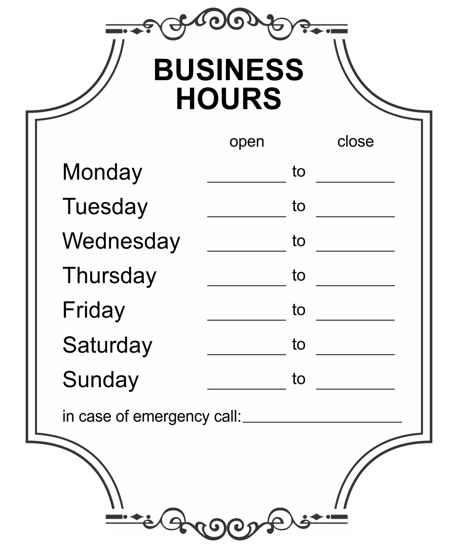 Printable Business Hours Signs