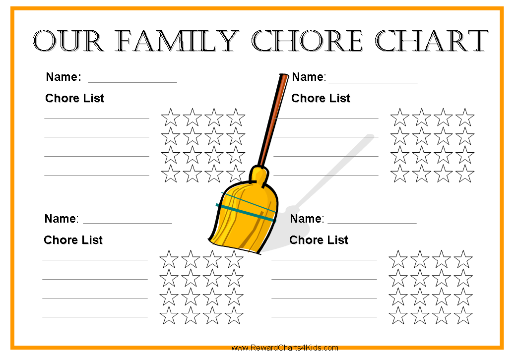 6 Images of Free Printable Chore Charts Family