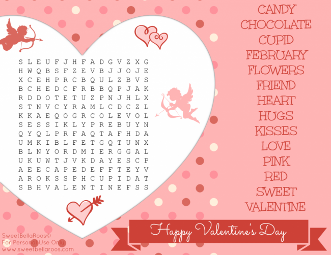 6 Images of Valentine's Day Word Search Printable