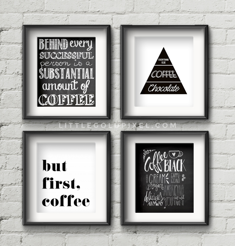 4 Images of Free Printable Coffee Wall Art