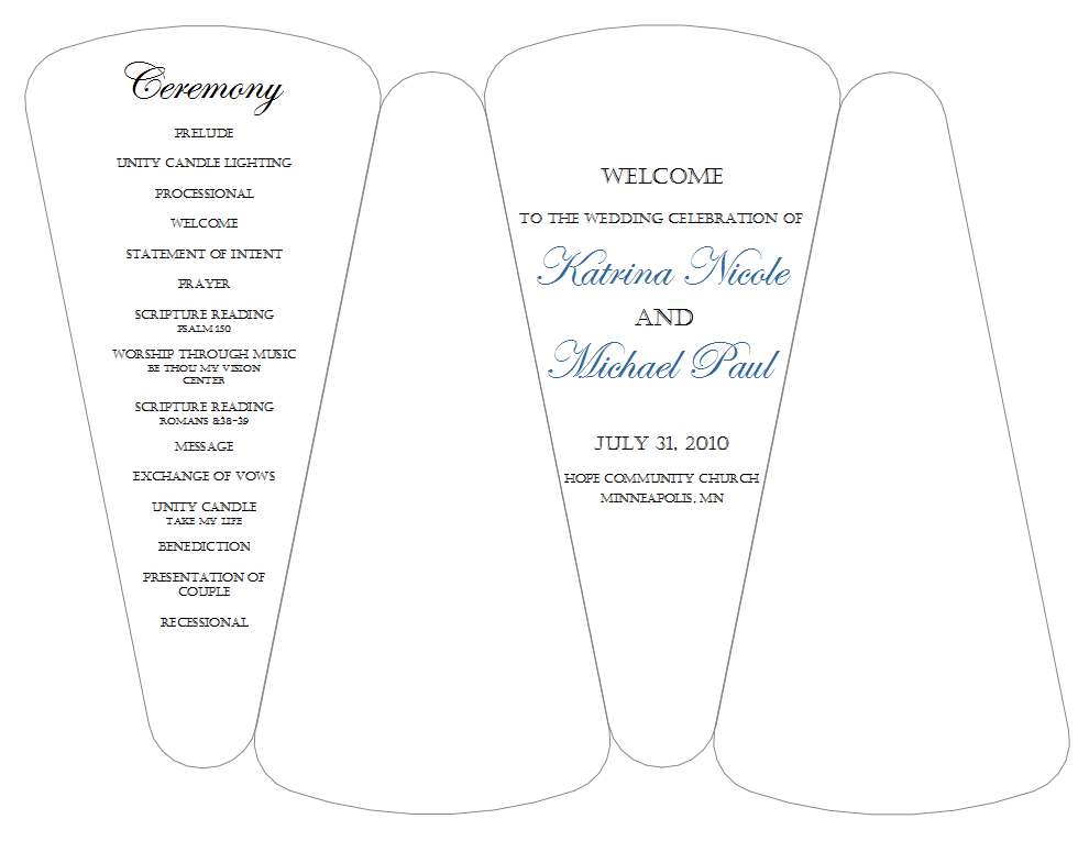 8 best images of wedding program template free printable card card free printable wedding for Wedding program fans templates free