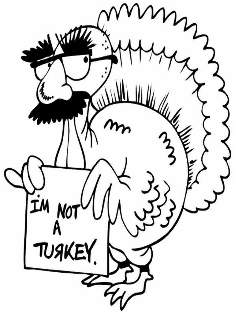 4 Images of Funny Turkey Coloring Pages Printable