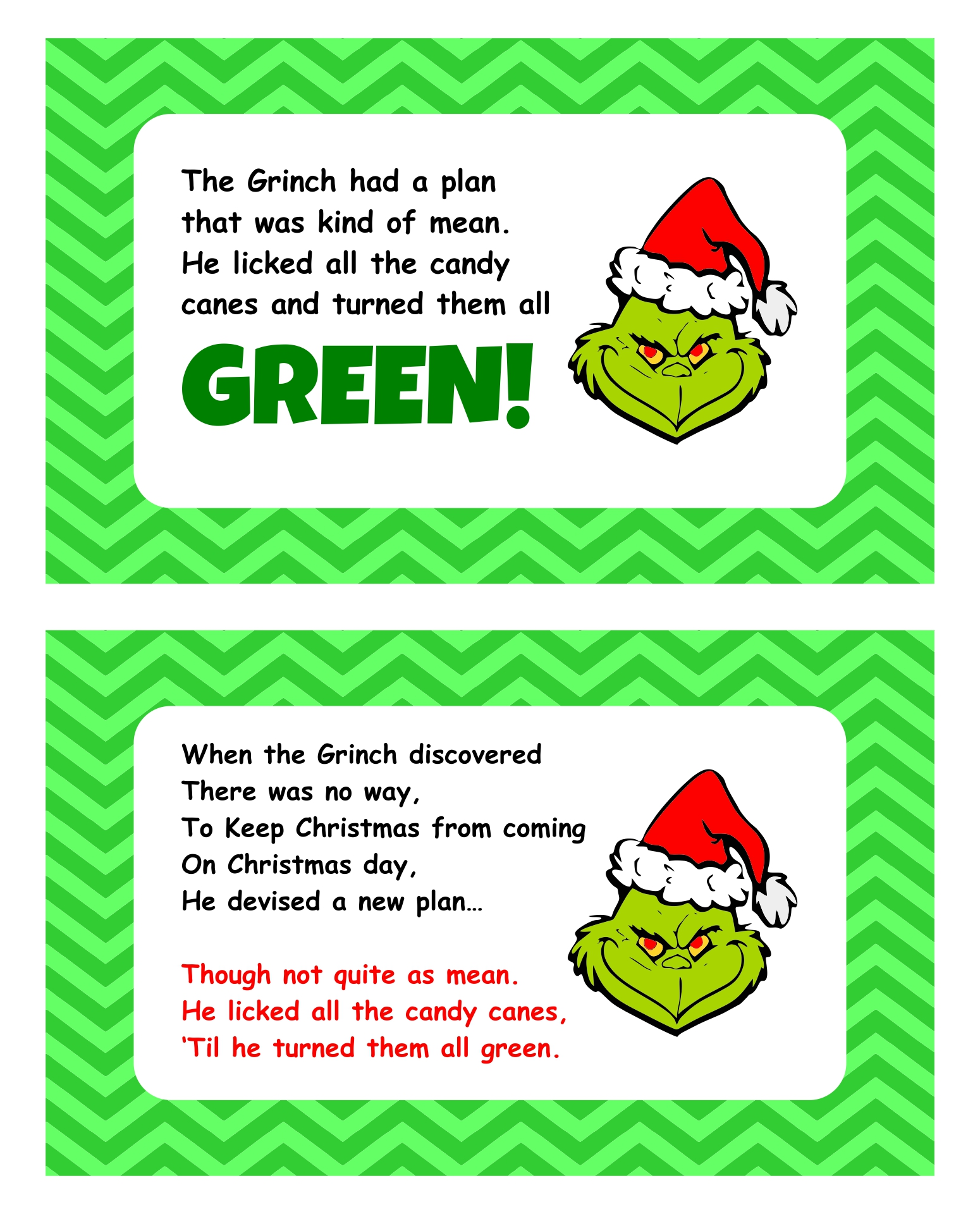 Grinch Candy Cane Poem Printable Tag