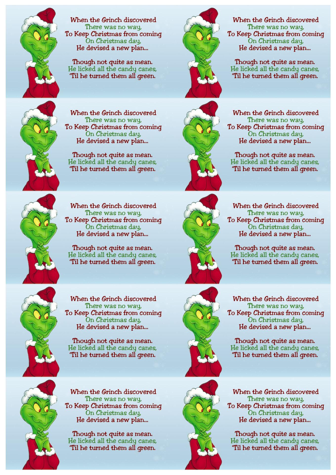 Grinch Candy Cane Poem Printable