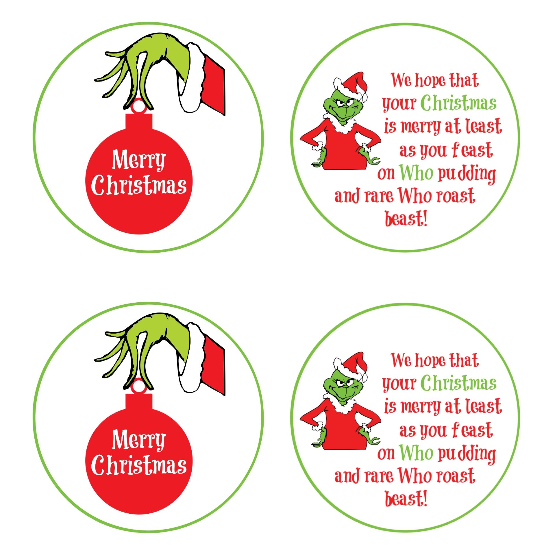 Grinch Christmas Tags Printables