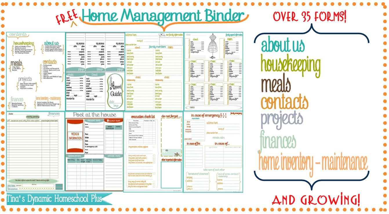 7 Images of Home Management Binder Printables
