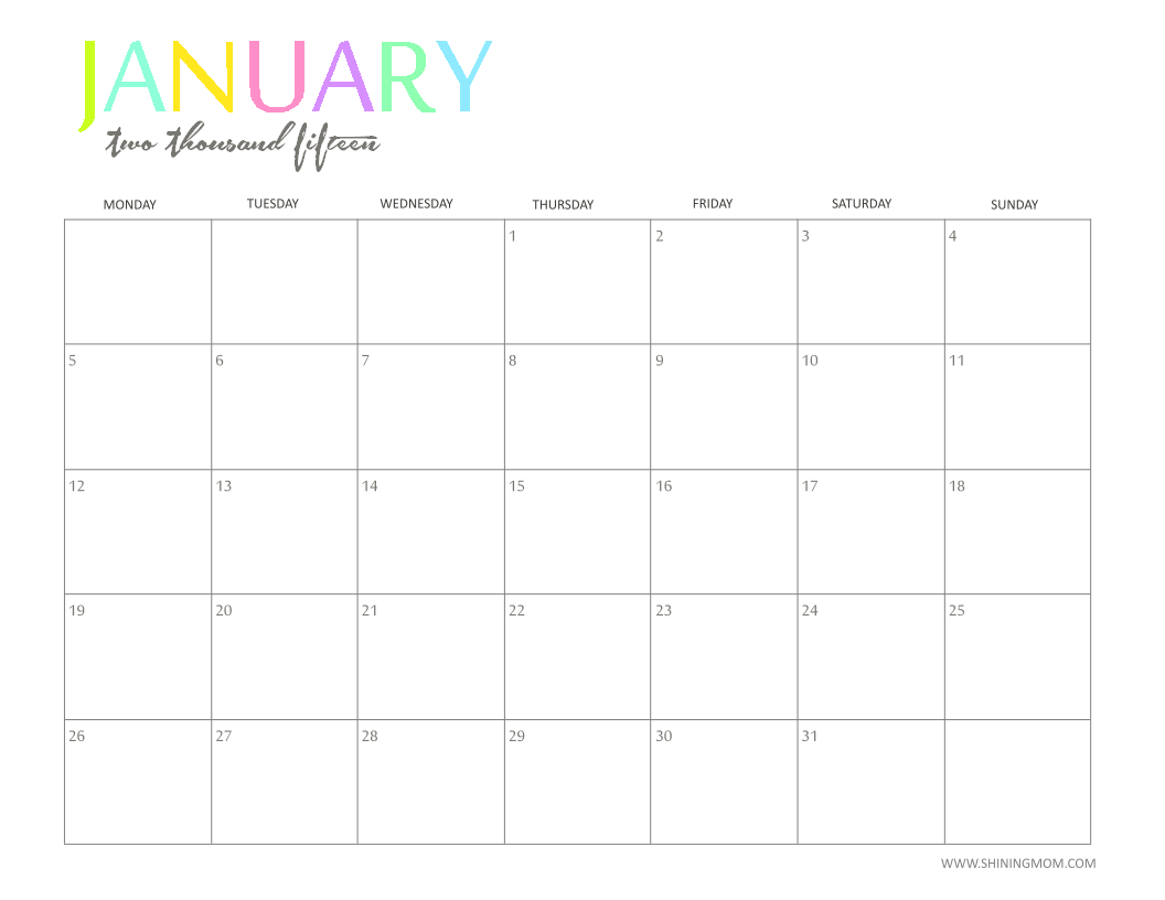 4 Images of Cute Printable January 2015 Calendar