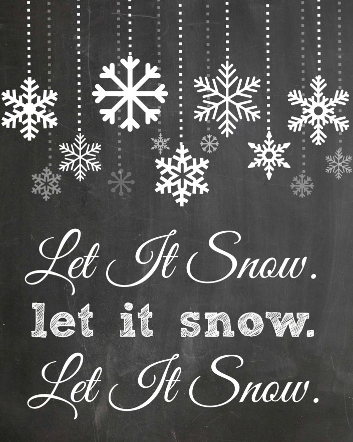 4 Images of Let It Snow Chalkboard Printable