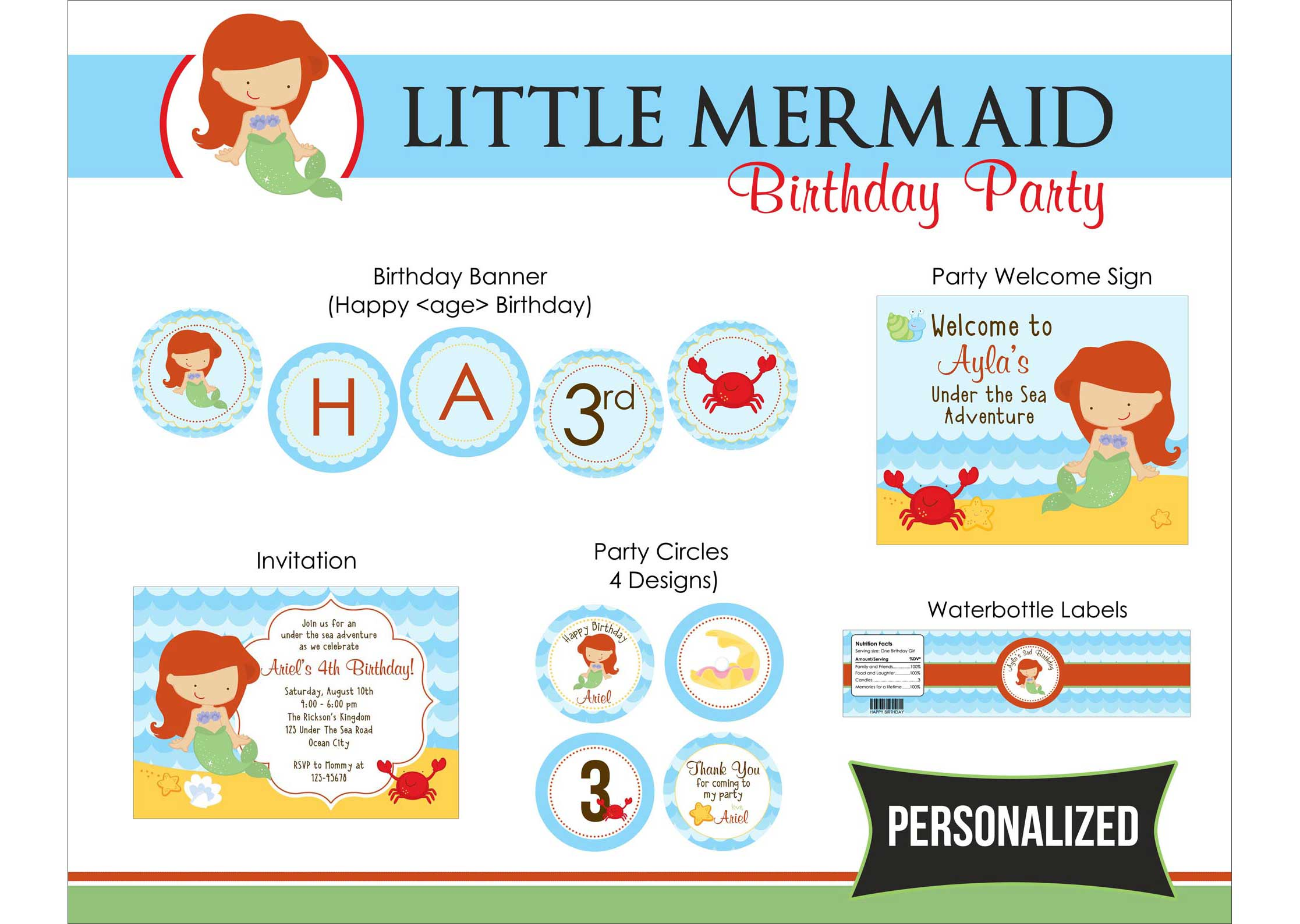 4 Images of The Little Mermaid Stickers Printable
