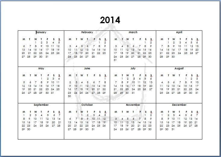 5 Images of 12 Month Calendar 2014 Printable