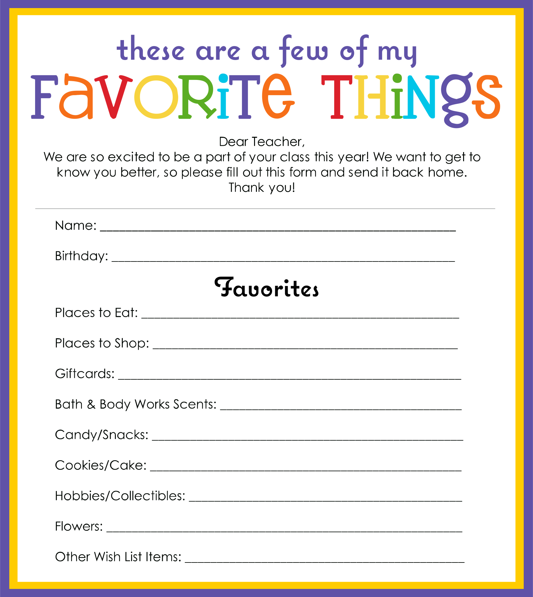 5 Images of My Favorite Things Template Printable