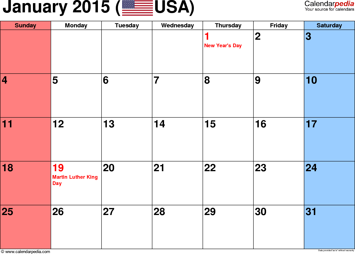 5 Images of January 2015 Calendar With Holidays Printable