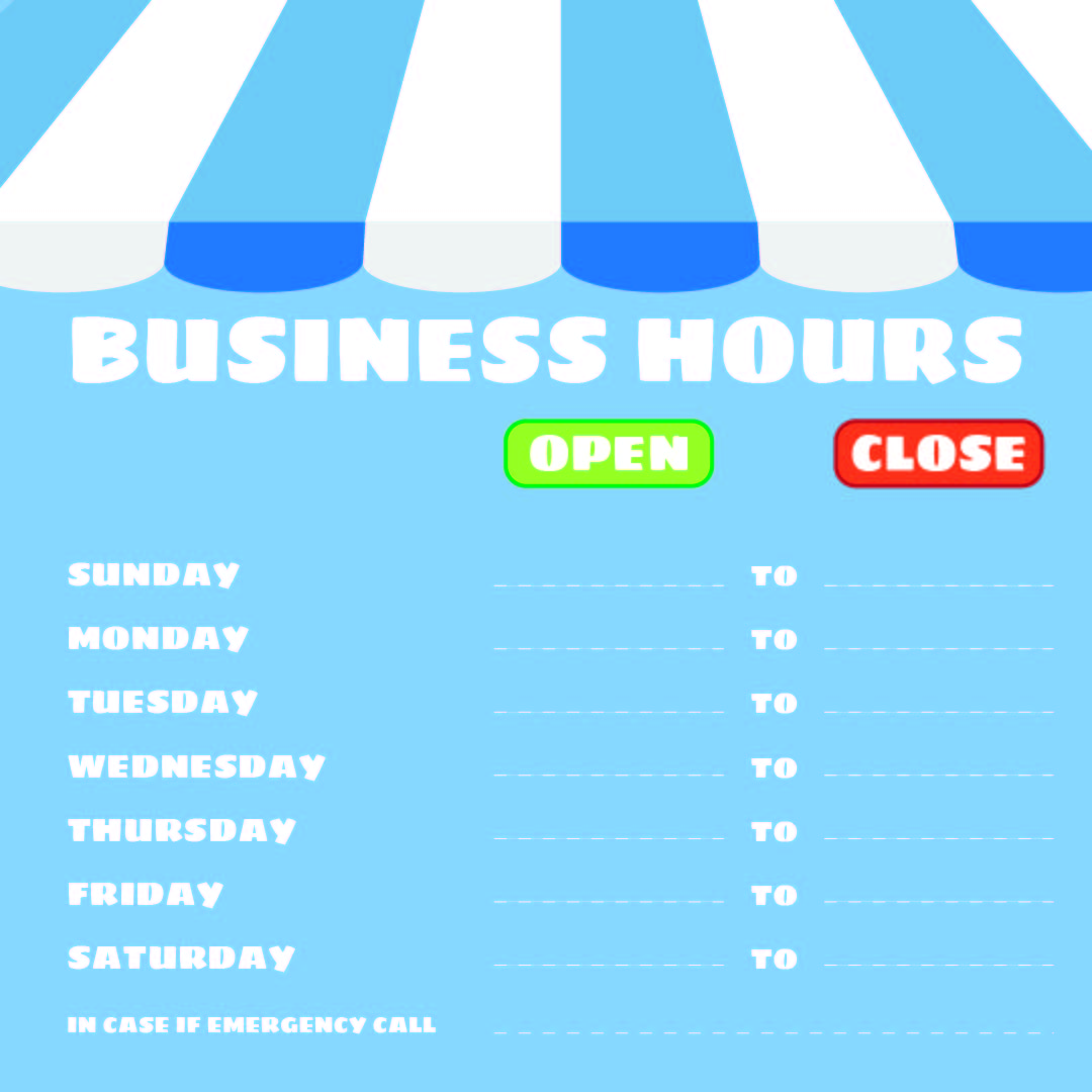 Office Hours Sign Template Printable