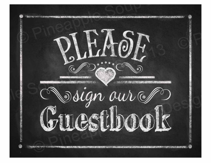 7 Images of Guest Book Sign Chalkboard Printable