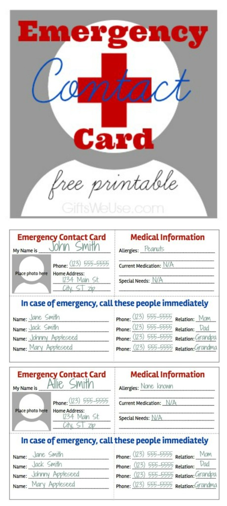 emergency information card template