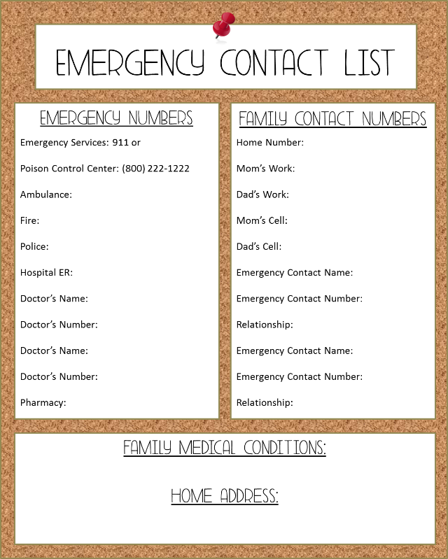 6 Images of Free Printable Emergency Contact List