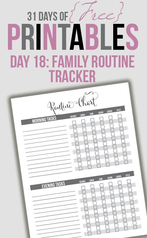 6 Images of Family Routine Printable