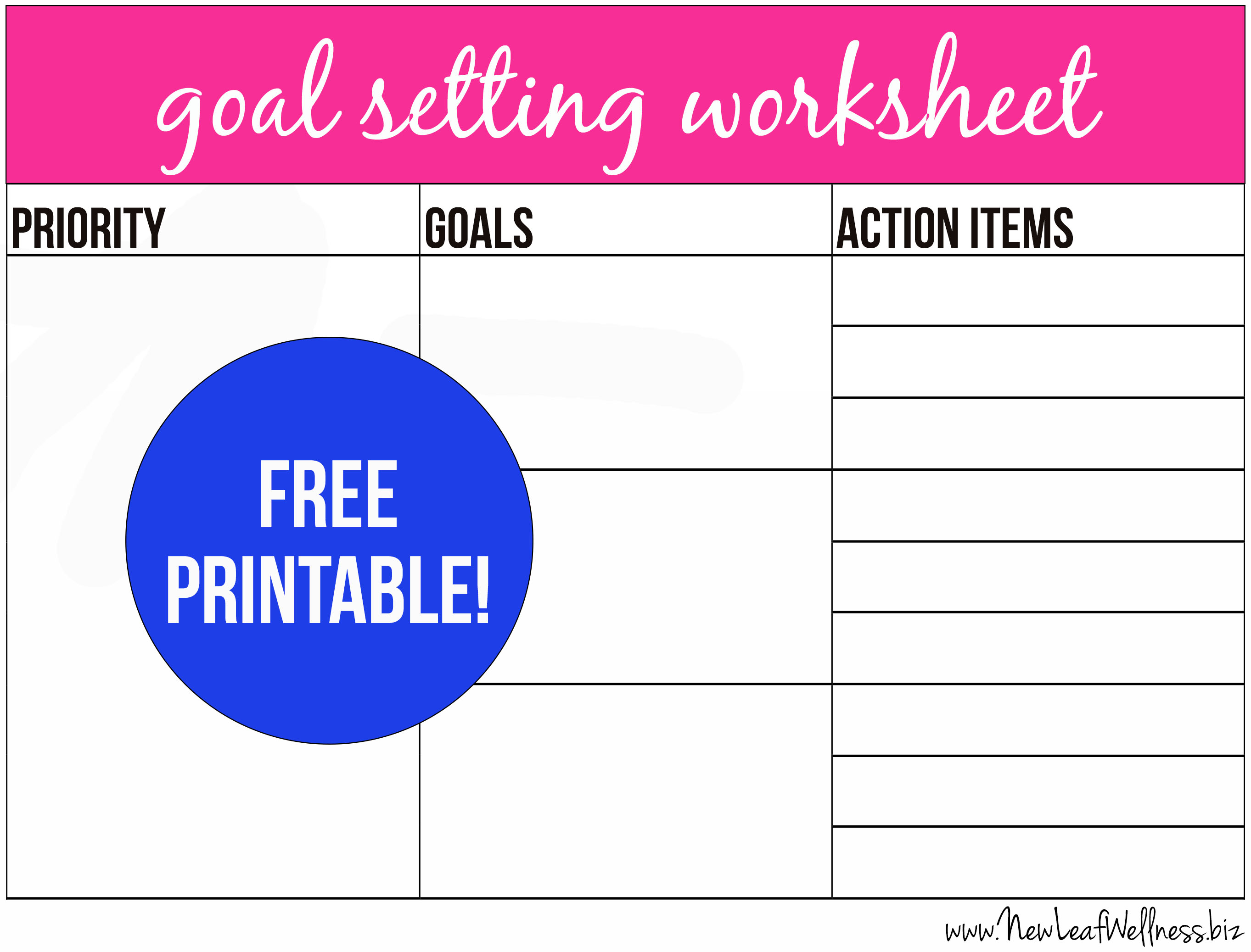 7 Images of Printable 2014 Goal Setting Worksheet