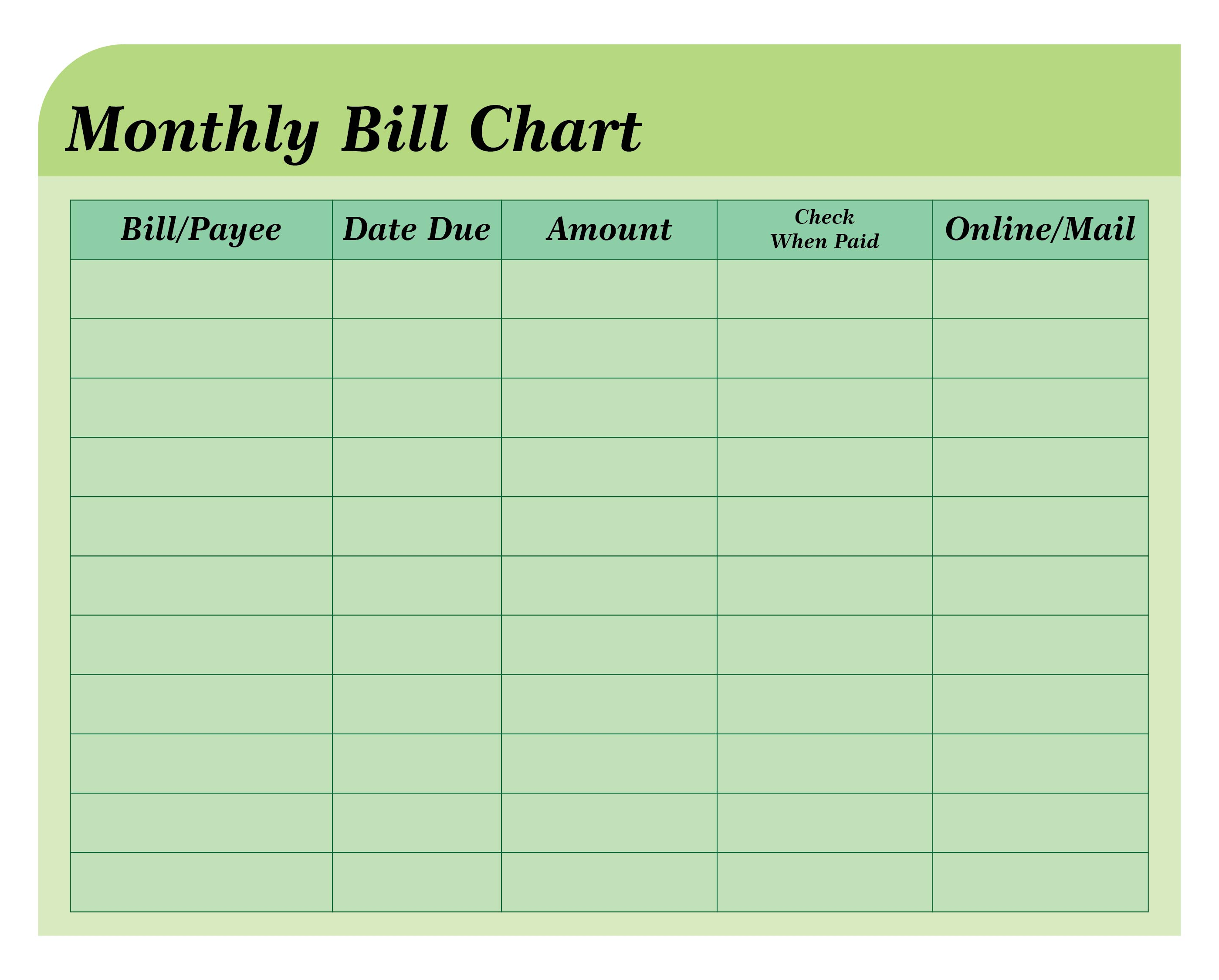 6 best images of free printable bill payment chart printable monthly bill pay charts. Black Bedroom Furniture Sets. Home Design Ideas