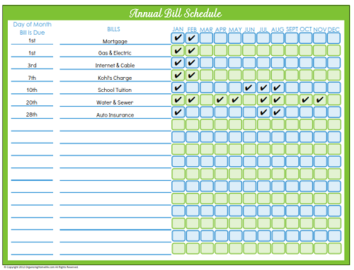 5 Images of Printable Monthly Bill Payment Calendar
