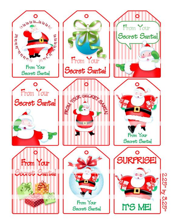 6 Images of Free Printable Secret Santa Gift Tags