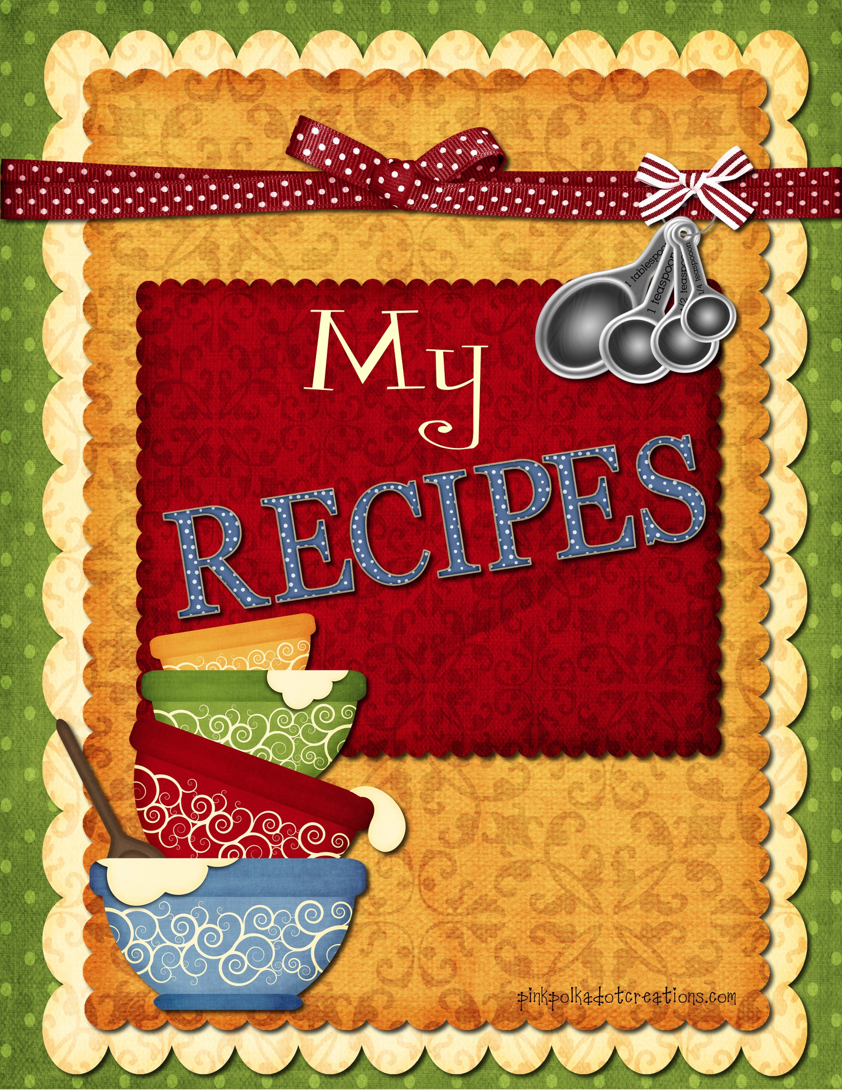 5 Images of Free Printable Recipe Book Cover Page
