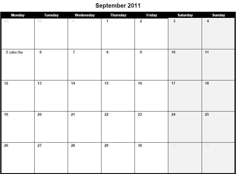 7 Images of Big Print September Calendar Printable
