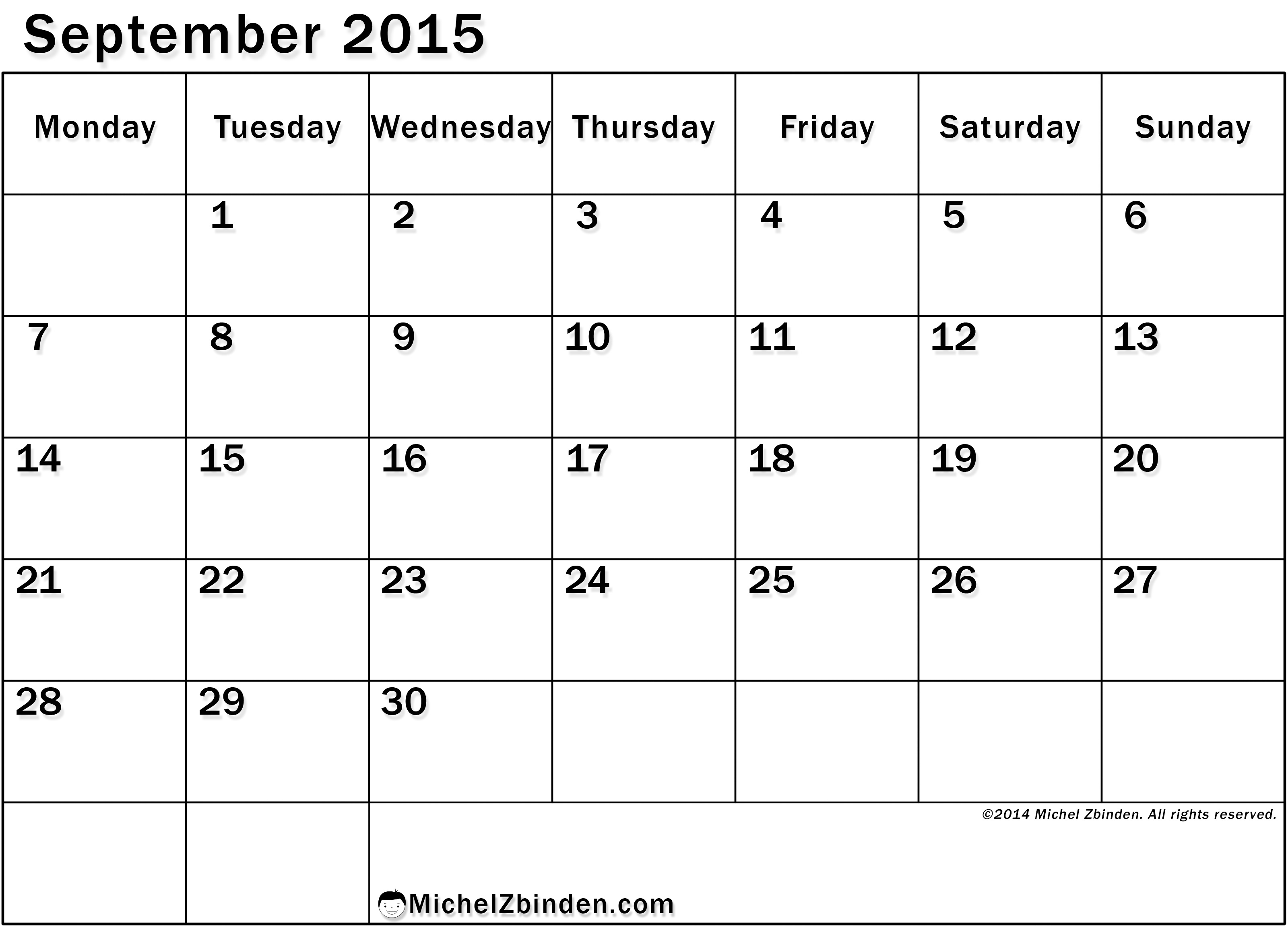 Calendar September : Best images of big print september calendar printable