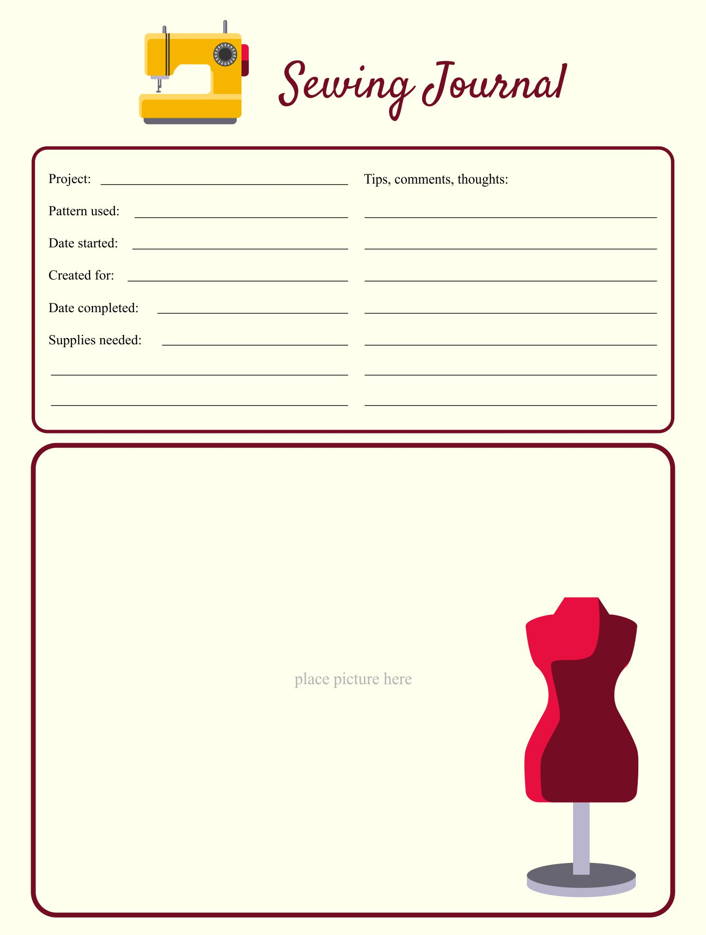 Sewing Journal Page Templates