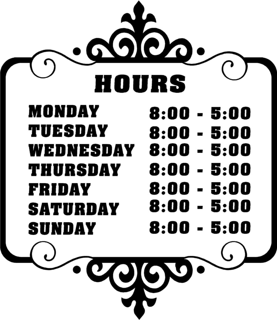 Store Business Hours Sign
