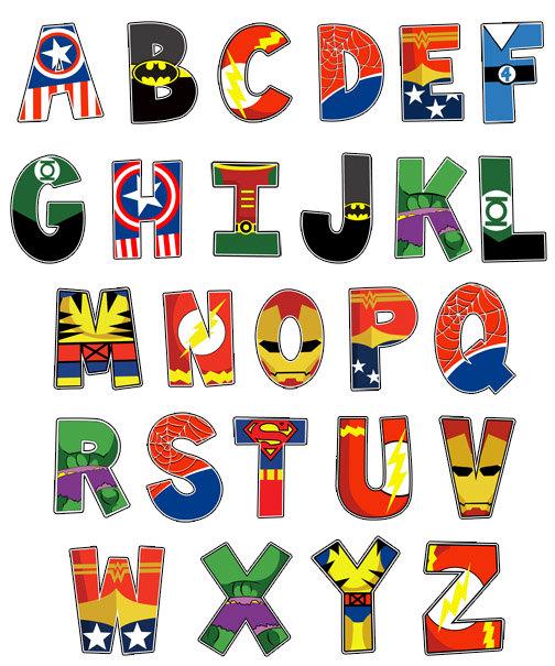 7 Images of Superhero Alphabet Printables