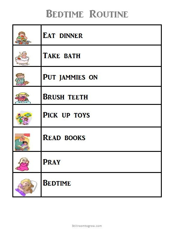 preschool bedtime routine chart 8 best images of blank routine printables morning 443
