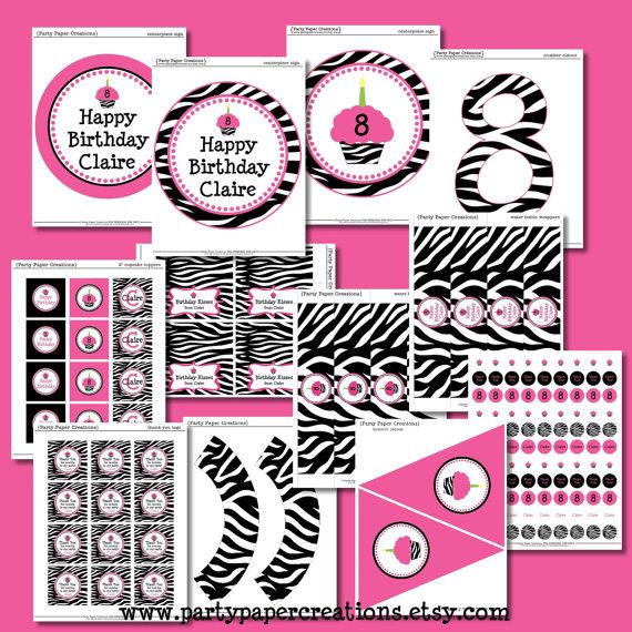 Zebra Print Party Printables Free
